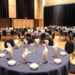 Kobayashi Hall banquet setup with blue table cloths