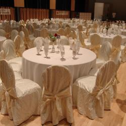 Kobayashi Hall banquet setup with white table cloths