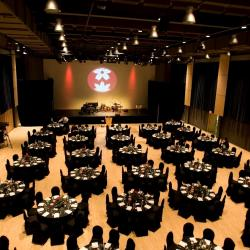 Kobayashi Hall banquet setup with black table cloths