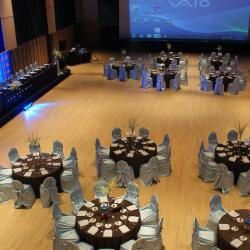 Kobayashi Hall banquet setup with brown table cloths