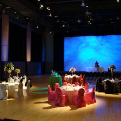 Kobayashi Hall banquet setup with colour table cloths