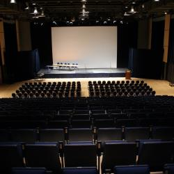 Kobayashi Hall theatre with bleacher, floor seats and stage
