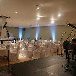 Shokokai Court banquet hall with cocktail and stage setup
