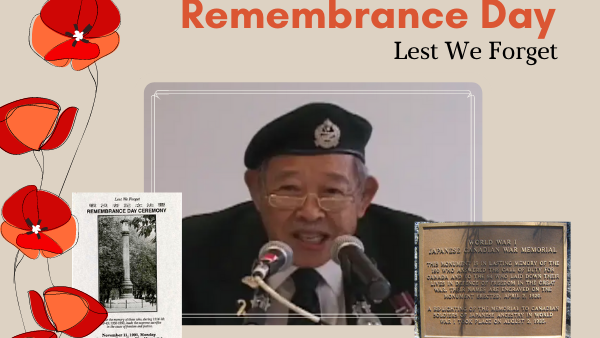 Remembrance Day 2020 - Memorial Plate, Japanese Lantern, and Mr. Yatabe